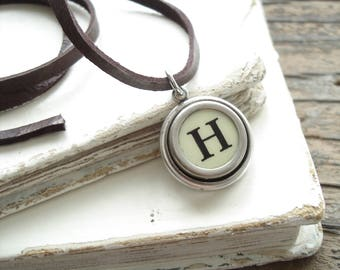 Typewriter Key Jewelry. Letter H Necklace. Vintage Typewriter Key Necklace. Personalized Initial. Adjustable Leather Necklace. Unisex Gift.