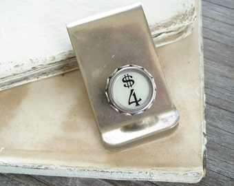"Money Clip - ""FOR MONEY"". Typewriter Key Number 4 Four / Dollar Sign. Dads Grads Wedding Eco Friendly. Vintage Typewriter Key Jewelry SALE."