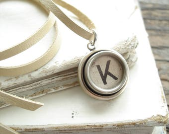 Typewriter Key Jewelry. Letter K Necklace. Vintage Typewriter Key Necklace. Personalized Initial. Adjustable Leather Necklace. Unisex Gift.