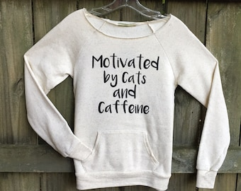 Cat sweater, White shirt basic, workout, womens sweatshirt, cat lover gift, cat shirt, off the shoulder, dancer style, pet mom, girlfriend