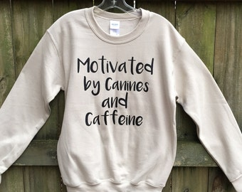 Motivational Sweatshirt for women, Dogs and coffee, funny sweatshirts, bestie, white shirt basic, dog lover gift, cozy slouchy pullover
