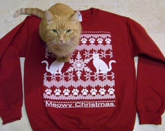 Meowy Christmas - Ugly Christmas Sweater, cat lover gift, holiday sweater gift, cats, graphic tee, funny tshirt, Cat shirt, rctees, abby