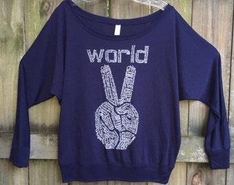 Motivational, Peace shirt, Women's t-shirt, new years shirt, gift for her, world peace, Off Shoulder, feminist shirt, peace sign tshirt