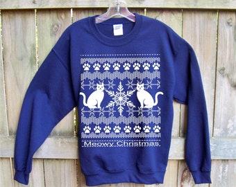 0e109cceafc Christmas Sweatshirt Meowy Christmas Plus Sizes funny