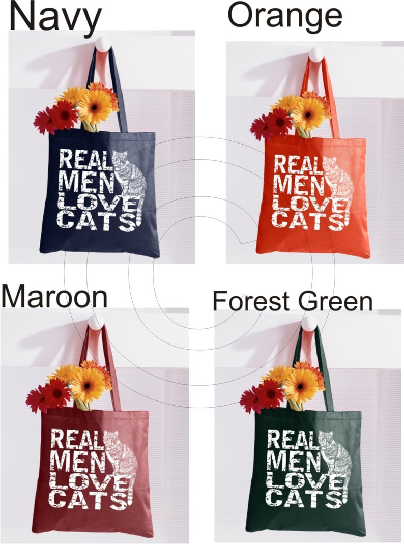 fb99f35152 Funny tote Canvas tote bag Cat tote bag Real Men Love Cats | Etsy
