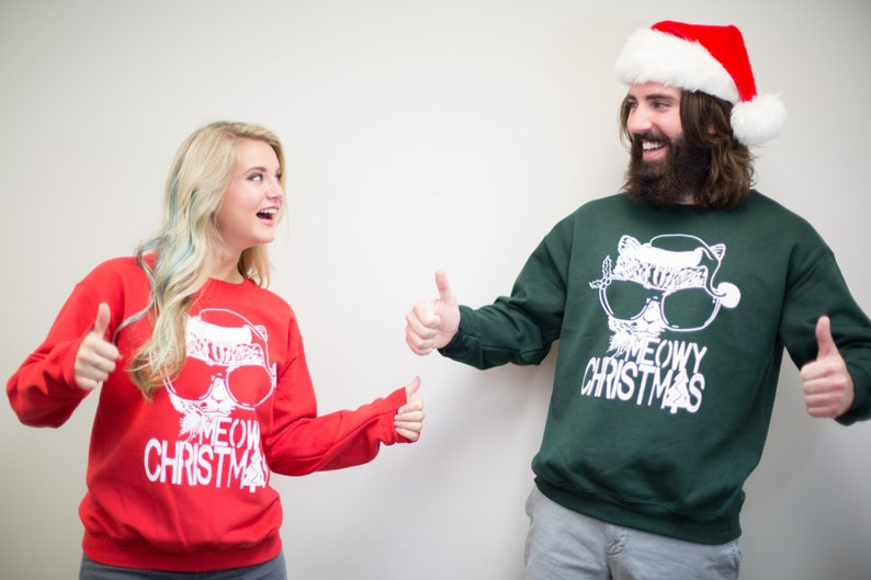 47f96eead66 Plus Sizes Couples Ugly Christmas Sweater Meowy Christmas
