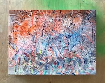 """Contrails- original 9"""" x 12"""" watercolor painting"""