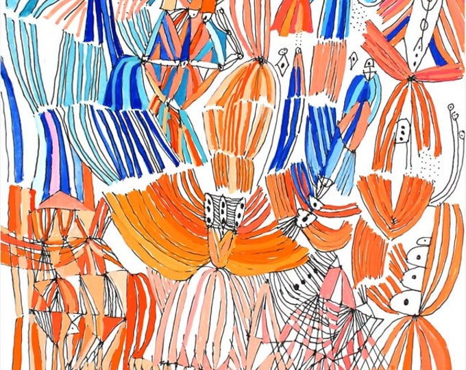 """Featured listing image: Tiger Lily - 8 1/8 """" H x 5 7/8"""" W original mixed media painting"""