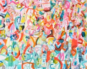 "cleome serrulata- 48"" x 60"" watercolor, gouache on canvas"