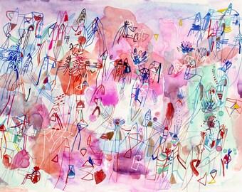 "salix arbusculoid- original 17"" x 13"" watercolor painting framed"