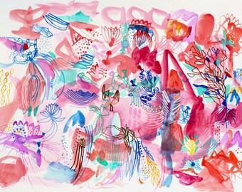 "Landscape - original 17"" x 13"" watercolor painting includes white frame"