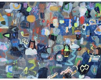 wakinyan - abstract print from nature colorful imaginary landscape art large blue art print unique folk art print