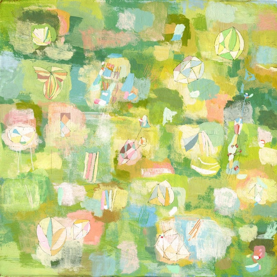 Spring Flowers Art Print Patone Colors 2017 Green Abstract Etsy
