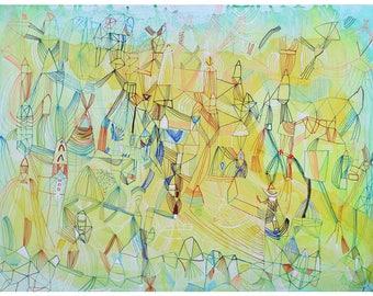 light trails - giclee print gold aura art print abstract giclee large print abstract colorful blue print art design fine art