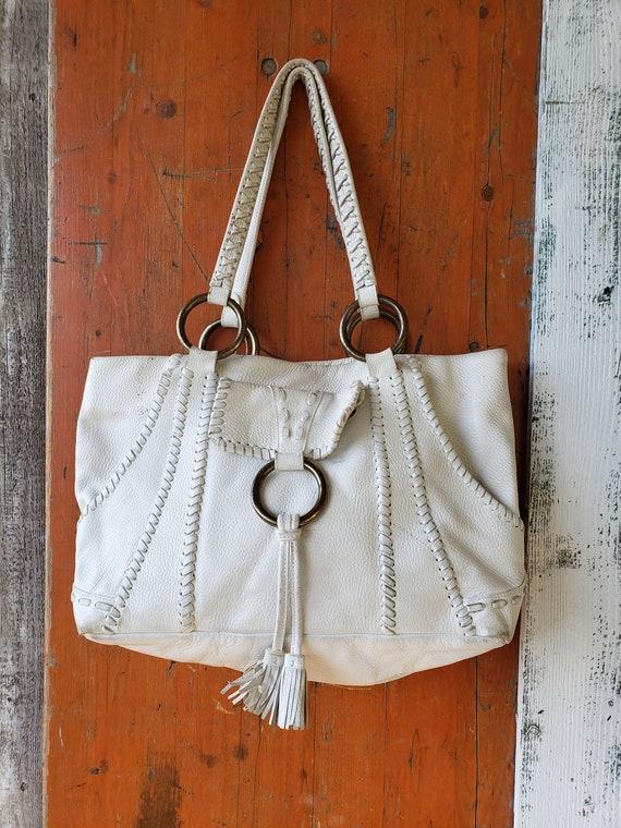 Vintage ISABELLA FIORE White Genuine LEATHER Handb