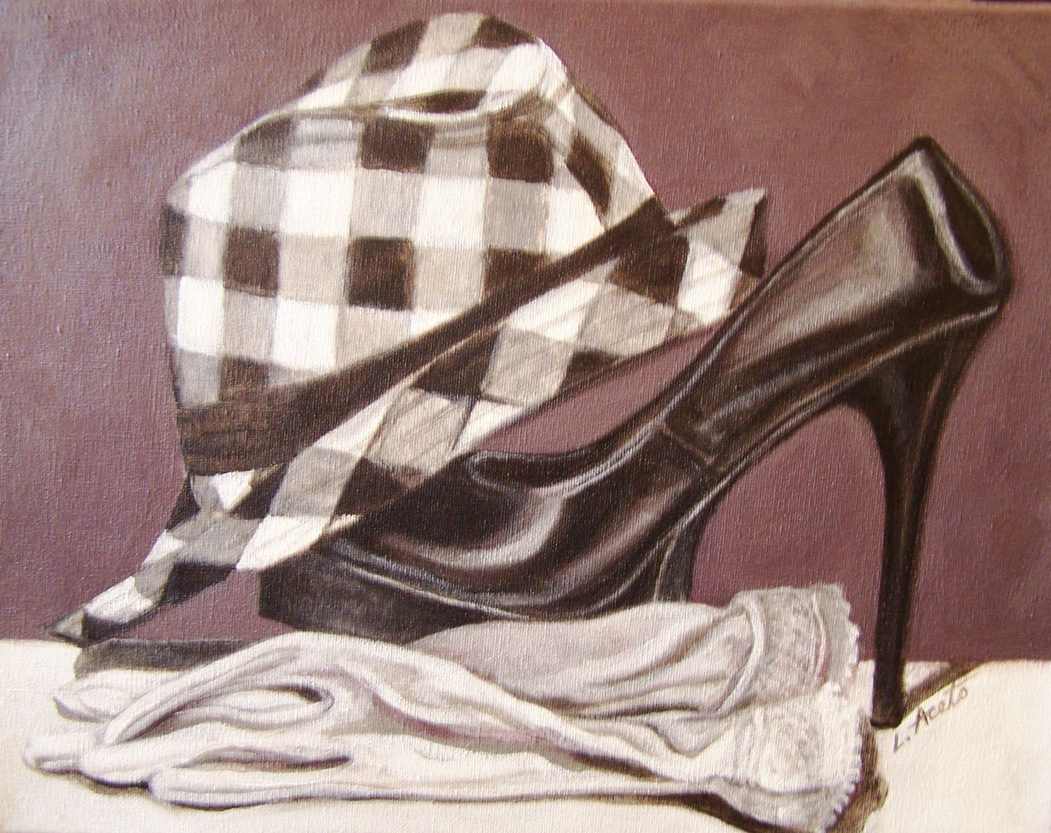 b&w still life heel acrylic painting of hat and high heel life shoe, 11x14 41eccd