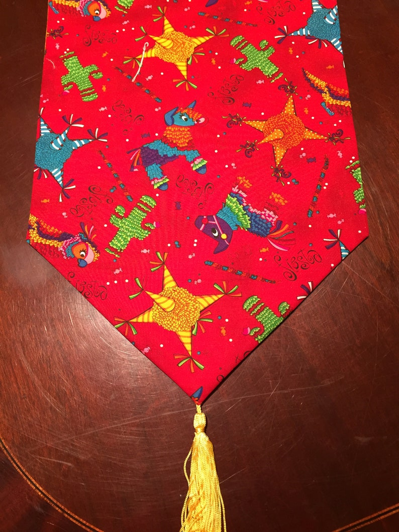 Parrots Red and Yellow Cotton Table Runner by ThemeRunners Burros Happy Birthday Party Cactus Cinco de Mayo Colorful Fiesta Pinatas