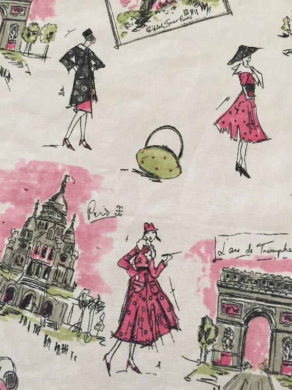 Waverly Tres Chic Black and Pink Fashion Models Paris Scene backed in Pink Cotton Table Runner by Themerunners