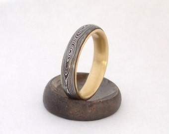 Damascus wedding band with 18K Gold Liner