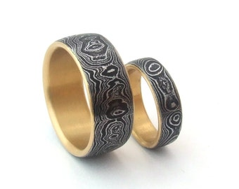 Damascus Wedding Band Set with 18k Gold Liners