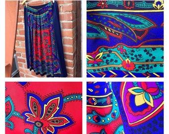 27b216c4d8 1970's Floral Skirt - vintage - boho - pleated midi skirt - festival - L -  hipster - 4th of July - paisley - Anthropologie - troppobella