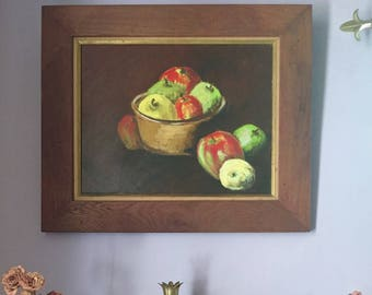 Farmhouse Still Life Painting - Mid Century - oil painting - framed - art - apples - kitchen - vintage home decor - troppobella