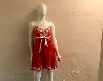 1960s Embroidered Dress - vintage sundress - Independence Day - red white blue - boho dress - festival dress - size S - troppobella