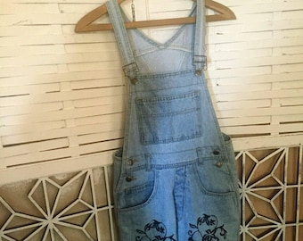Embroidered Denim Overalls - 80's designer overalls - Demode Classix - hipster overalls - jeans overalls - loose-fit - M - troppobella