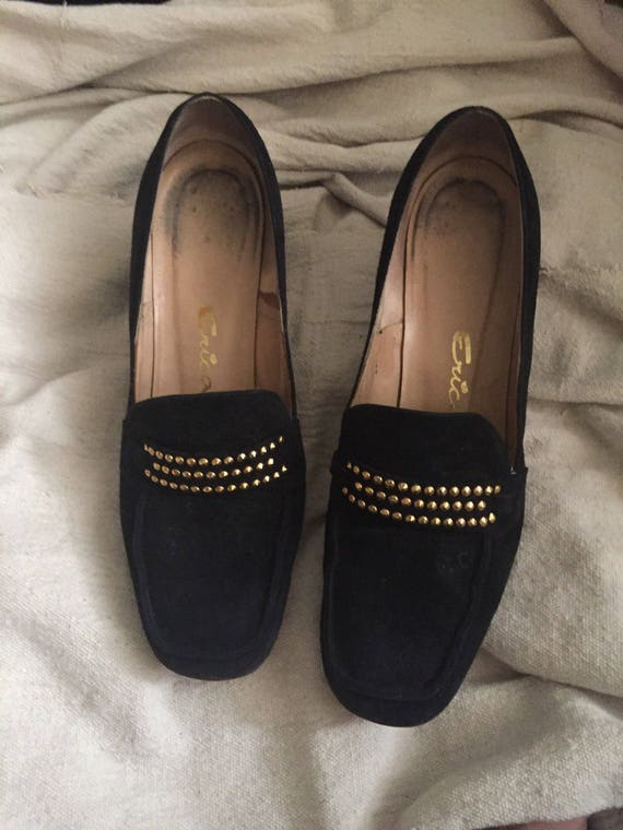 2 1960s shoes narrow Erica 1 9 bloomingdales shoes Loafers shoes AA black suede loafers vintage vintage studded Suede pumps aT6T1E
