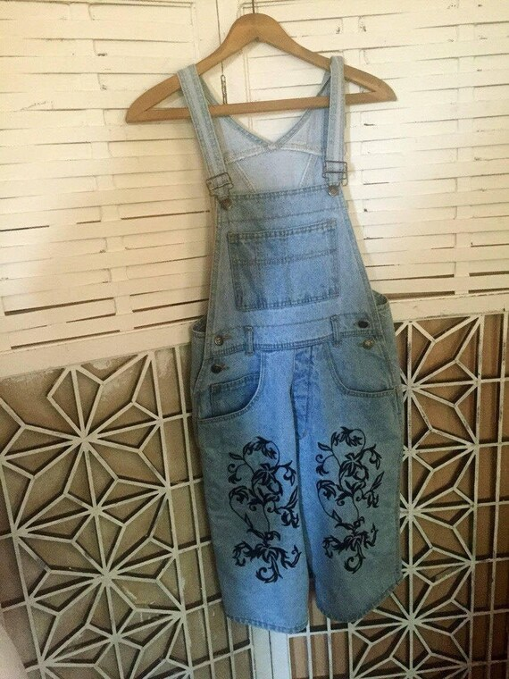 Embroidered Denim Overalls - 80's designer overall