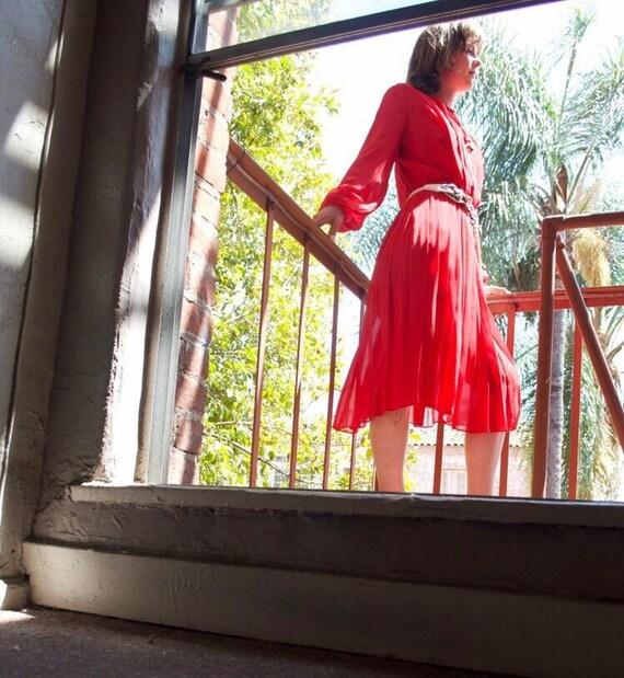 Edith Flagg Sheer Dress - red chiffon dress - 1970