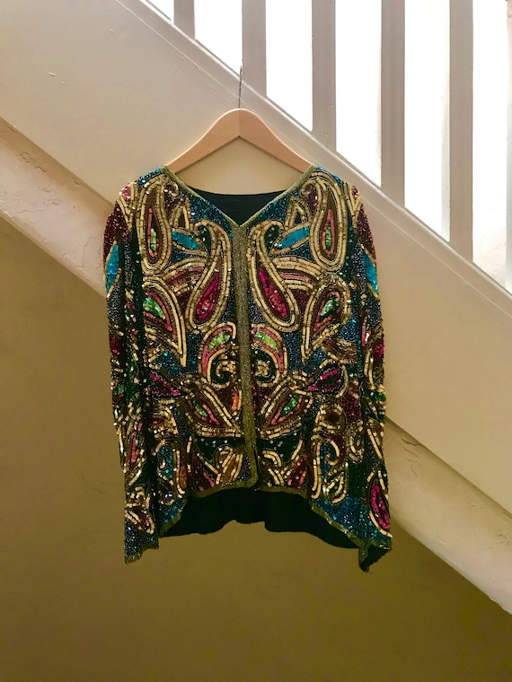 Multi-colored Sequined Blouse - silk sequined top