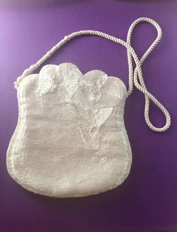 Beaded Silk Wedding Bag - bridal - white bag - flo