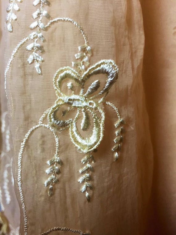 silk troppobella nightgown embroidered 1950's wedding Vintage Négligée lingerie slip appliqué Kickerknick butterfly nightie 6w7SHt7