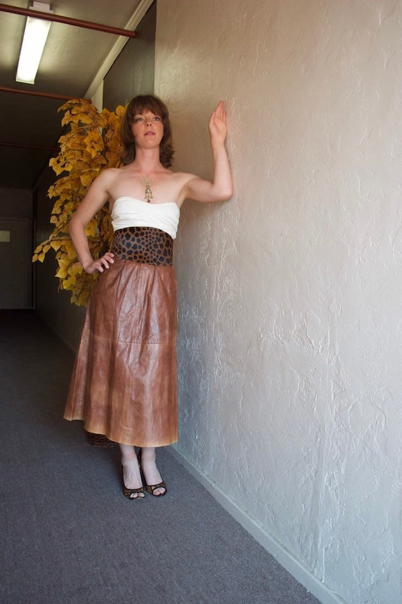 1940s Leather Maxi Skirt - brown leather skirt - a