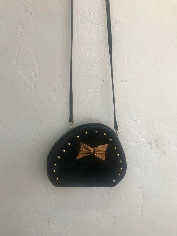 1980's Bow Bag - vintage suede bag - black suede b