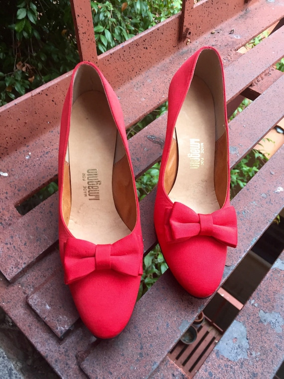 heels vintage 8 designer Bow leather vintage Magnin I red Pumps troppobella B high 1960's fabric heels Red rare sole 4vnxFBwwp