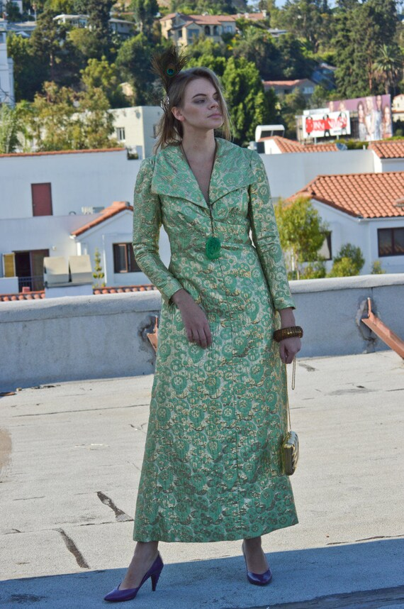 maxi vintage dress green 1960's metallic lamé formal Brocade Green SALE mint Gown couture rare troppobella vintage wBgScOxAq