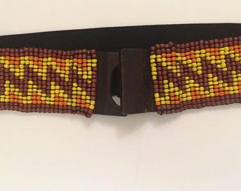 Beaded Stretch Belt - wood closure belt - hippie belt - boho belt - 1990's vintage belt - elastic back - one size - chevron