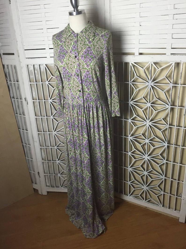 boho dress festival 1970/'s Boho Maxi Dress vintage troppobella floral dress modest Hayes dress summer dress purple flower