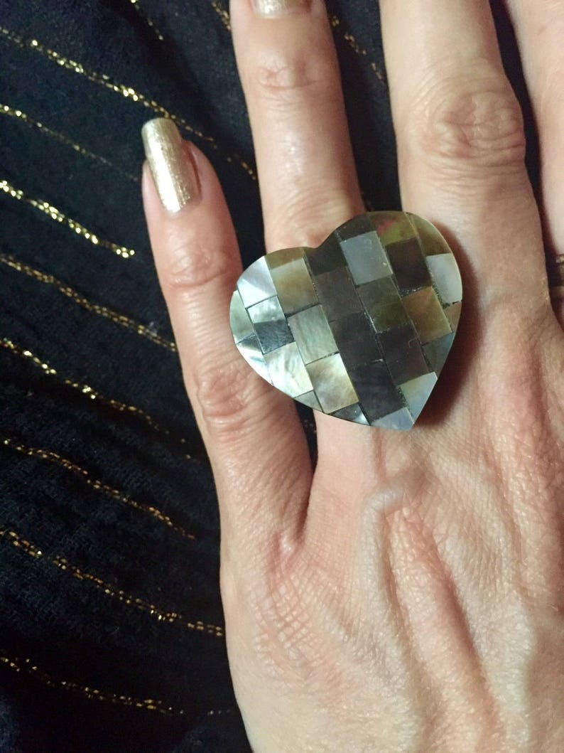 troppobella shell mosaic festival one size fits all Nacre Inlay Heart Ring big heart ring boho adjustable heart ring