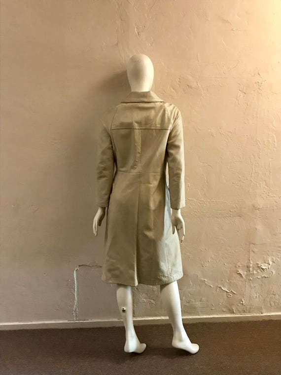 Leather Trench Coat - 1970s leather coat - Dan di… - image 7