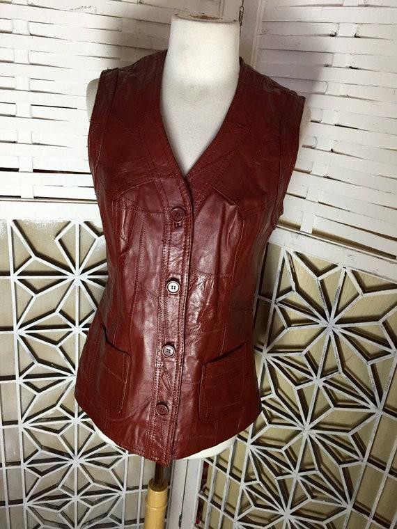 Leather Biker Vest - 1980's Leather Bug vest  size