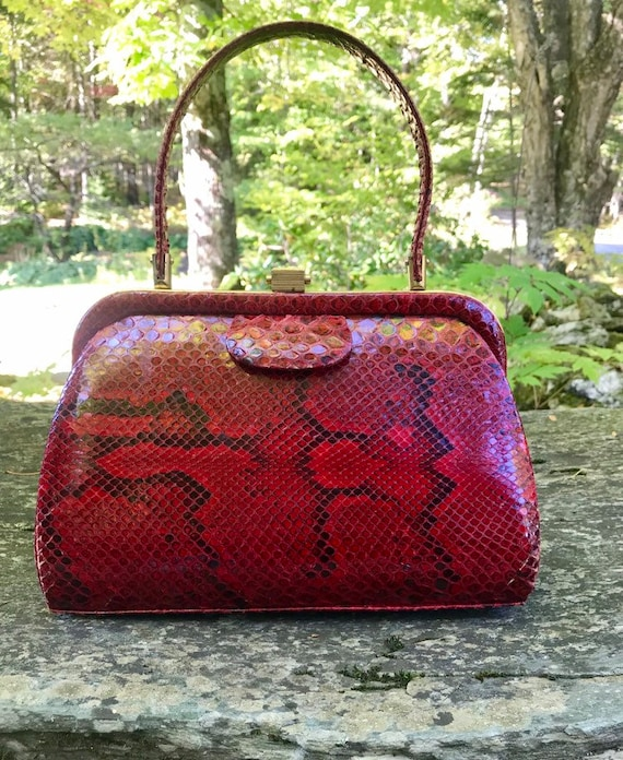 Genuine Python Bag - 1940s vintage handbag - top h