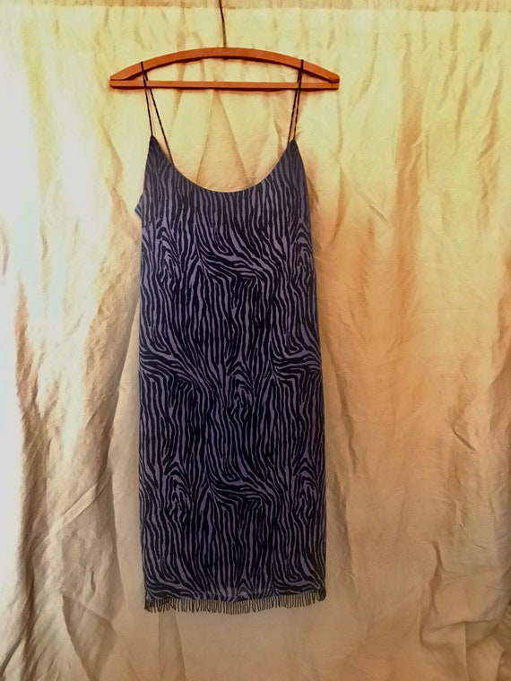 Zebra Print Silk Dress - 1990's vintage - fringe t