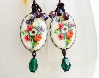 Poppy Flower Earrings Vintage Glass Floral Cameos Purple Green Flower Jewelry Poppy Jewelry Victorian Floral Jewellery