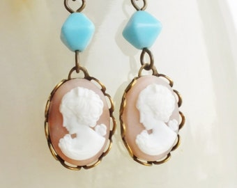Pink Cameo Earrings Vintage Victorian Portrait Cameos Light Pink Cameo Earrings Pastel Pink Victorian Jewelry Light Pink Bridal Wedding