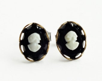 Tiny Black Victorian Cameo Studs Tiny Vintage Cameo Post Earrings Black Cameo Earrings Victorian Cameo Jewelry