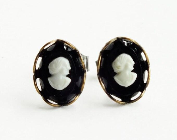 Tiny Black Victorian Cameo Studs Tiny Vintage Cameo Post Earrings Black Cameo Earrings Victorian Cameo Jewelry