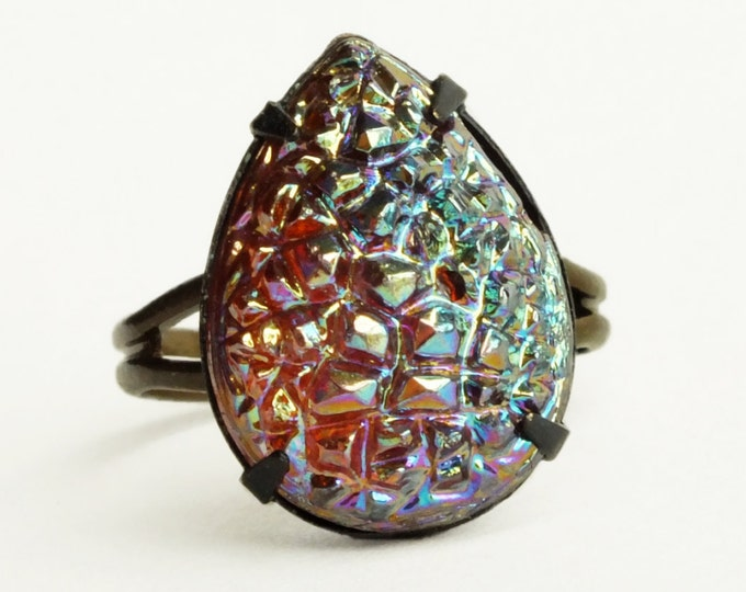 Iridescent Crystal Drusy Ring Metallic Druzy Jewelry Vintage Sugar Stone Ring Adjustable Iridescent Glass Druzy Jewelry